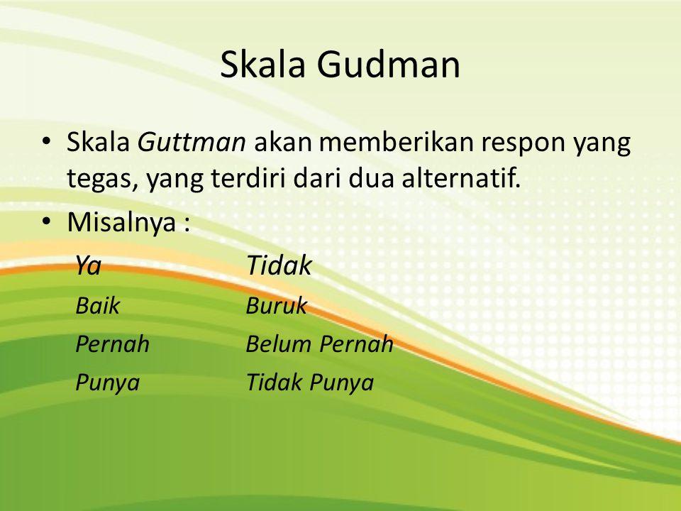 Skala Gudman • Skala Guttman akan memberikan respon yang tegas, yang terdiri dari dua alternatif. • Misalnya : YaTidak Baik Buruk PernahBelum Pernah P