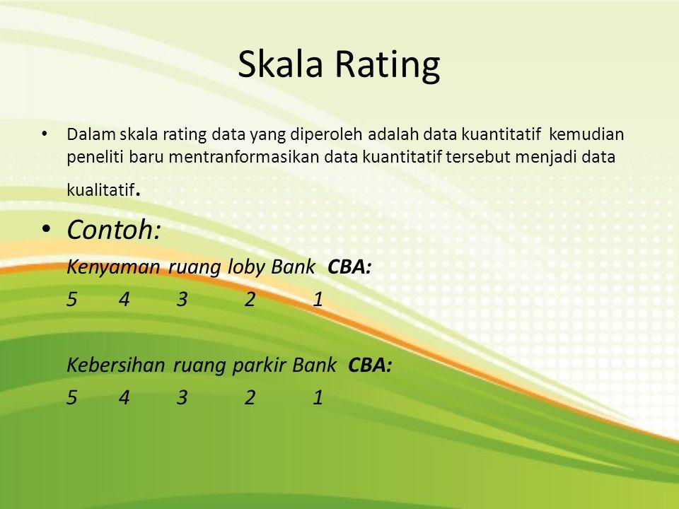 Skala Rating • Dalam skala rating data yang diperoleh adalah data kuantitatif kemudian peneliti baru mentranformasikan data kuantitatif tersebut menja