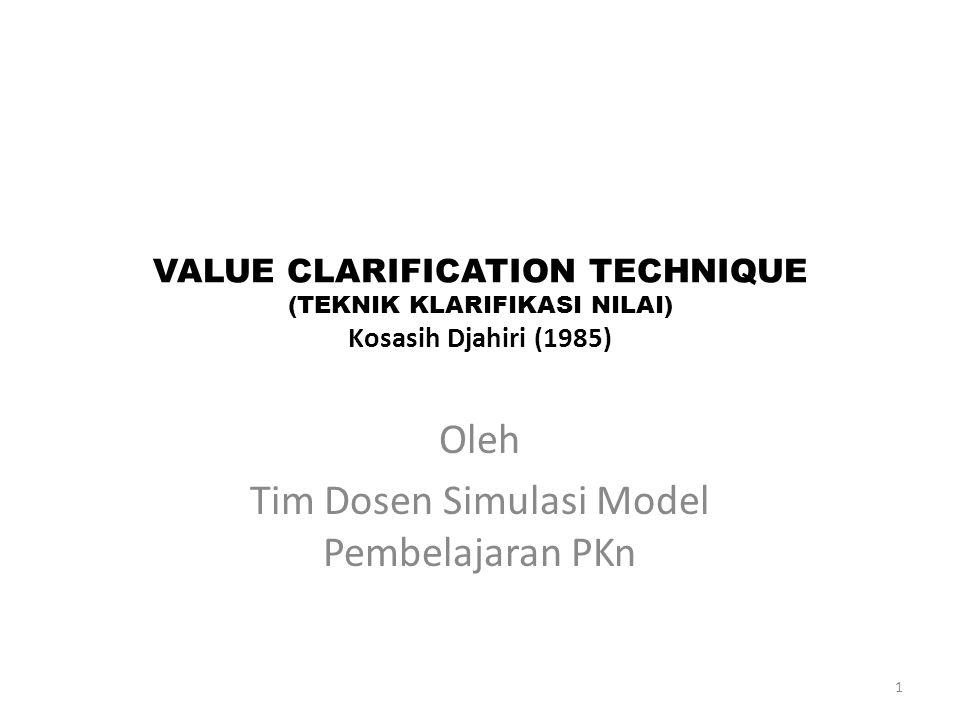 VALUE CLARIFICATION TECHNIQUE (TEKNIK KLARIFIKASI NILAI) Kosasih Djahiri (1985:64) 1.VCT Analisis Nilai Teknik pembelajaran yang mengembangkan kemampuan siswa mengidentifikasi dan menganalisis nilai-nilai yang termuat dalam suatu liputan peristiwa,lagu, tulisan, gambar, dan cerita rekaan.