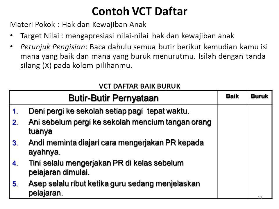 Contoh VCT Daftar Materi Pokok : Hak dan Kewajiban Anak • Target Nilai : mengapresiasi nilai-nilai hak dan kewajiban anak • Petunjuk Pengisian: Baca d