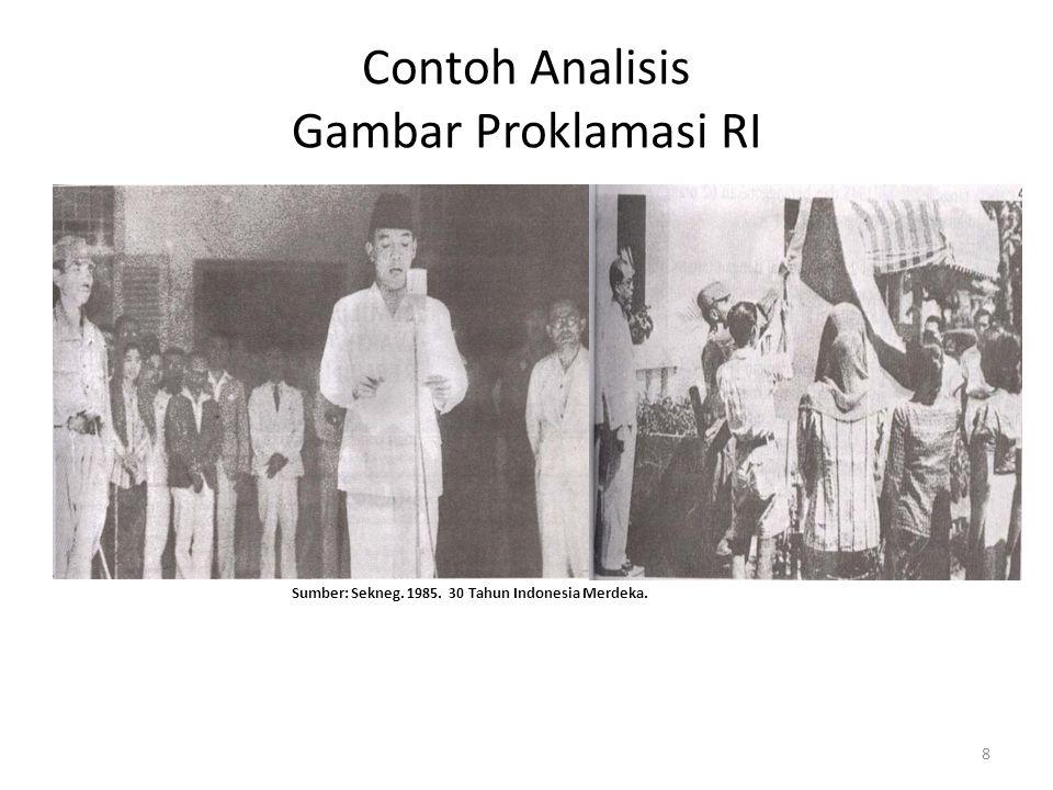 Contoh Analisis Gambar Proklamasi RI Pembacaan teks proklamasi yang dilakukan oleh Sukarno atas nama Bangsa Indonesia Sumber: Sekneg. 1985. 30 Tahun I