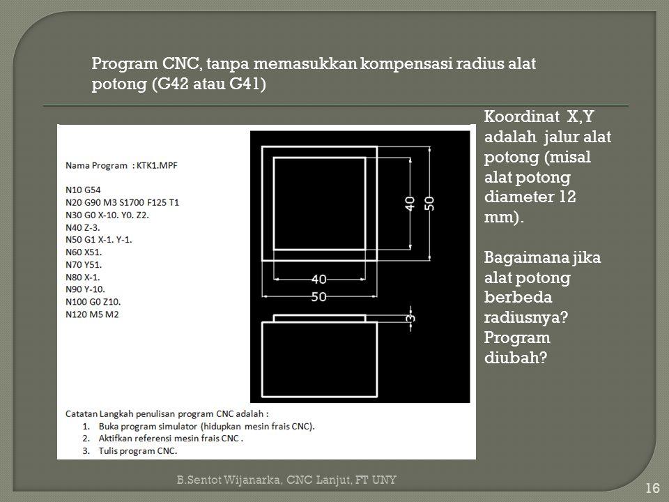 16 B.Sentot Wijanarka, CNC Lanjut, FT UNY Program CNC, tanpa memasukkan kompensasi radius alatpotong (G42 atau G41) Koordinat X,Yadalah jalur alatpoto
