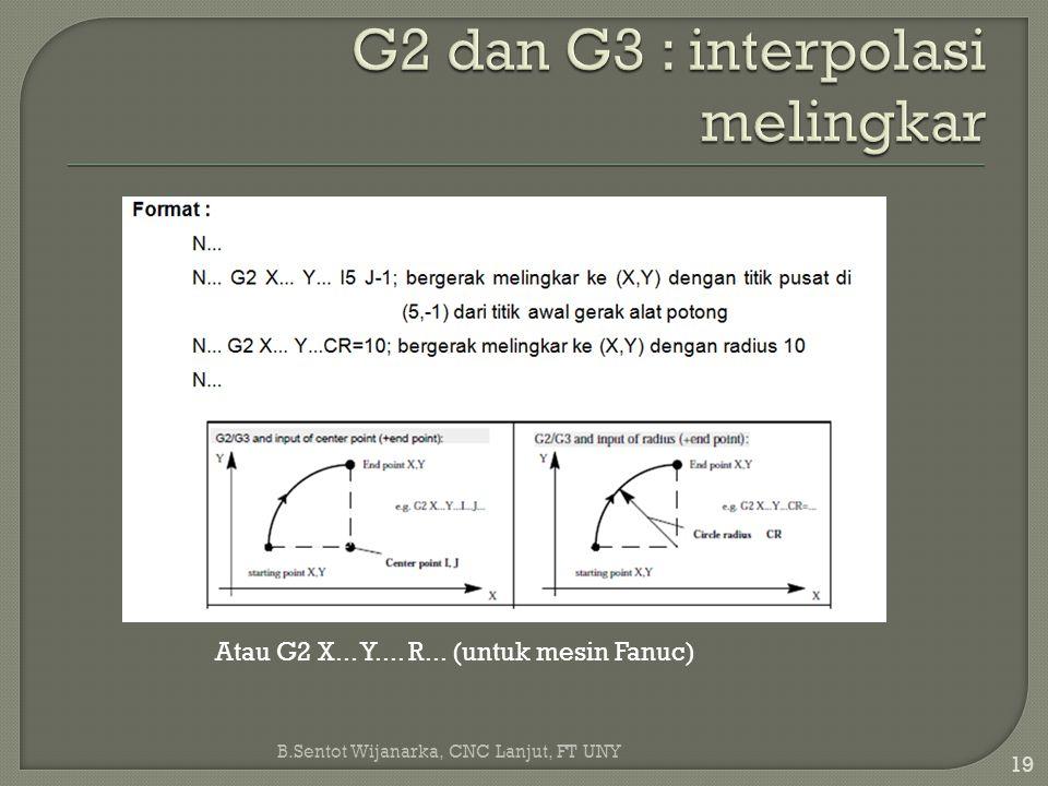 B.Sentot Wijanarka, CNC Lanjut, FT UNY 19 Atau G2 X... Y.... R... (untuk mesin Fanuc)
