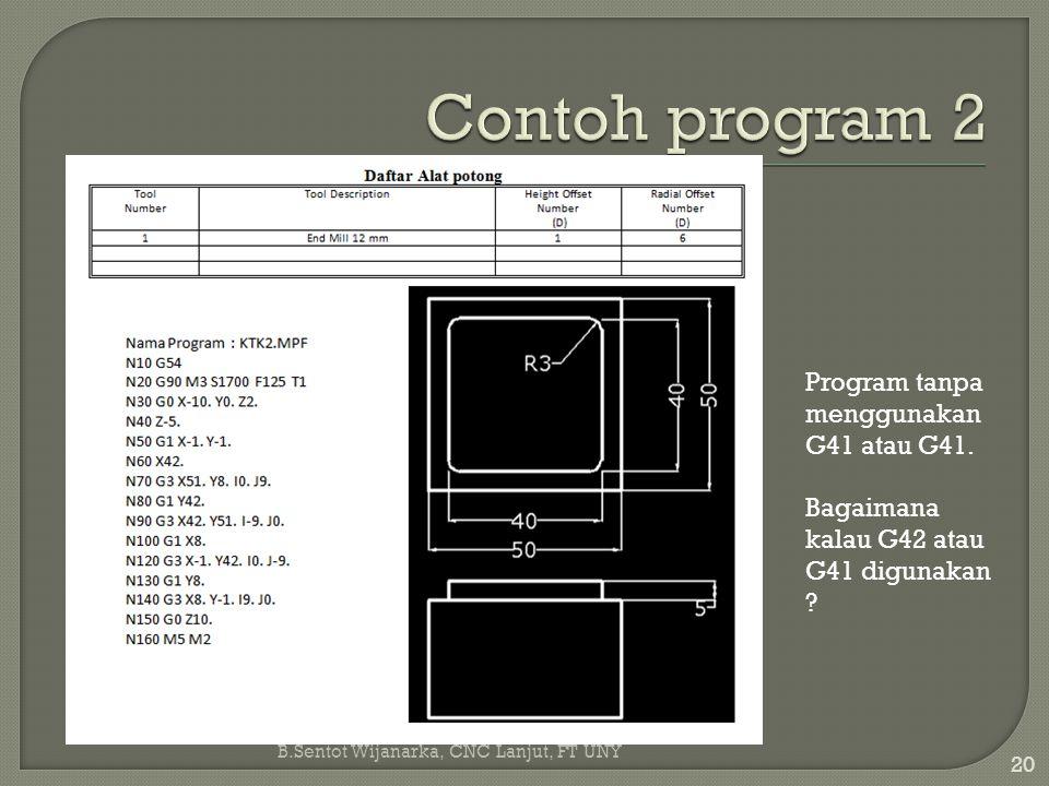 B.Sentot Wijanarka, CNC Lanjut, FT UNY 20 Program tanpa menggunakan G41 atau G41. Bagaimana kalau G42 atau G41 digunakan ?