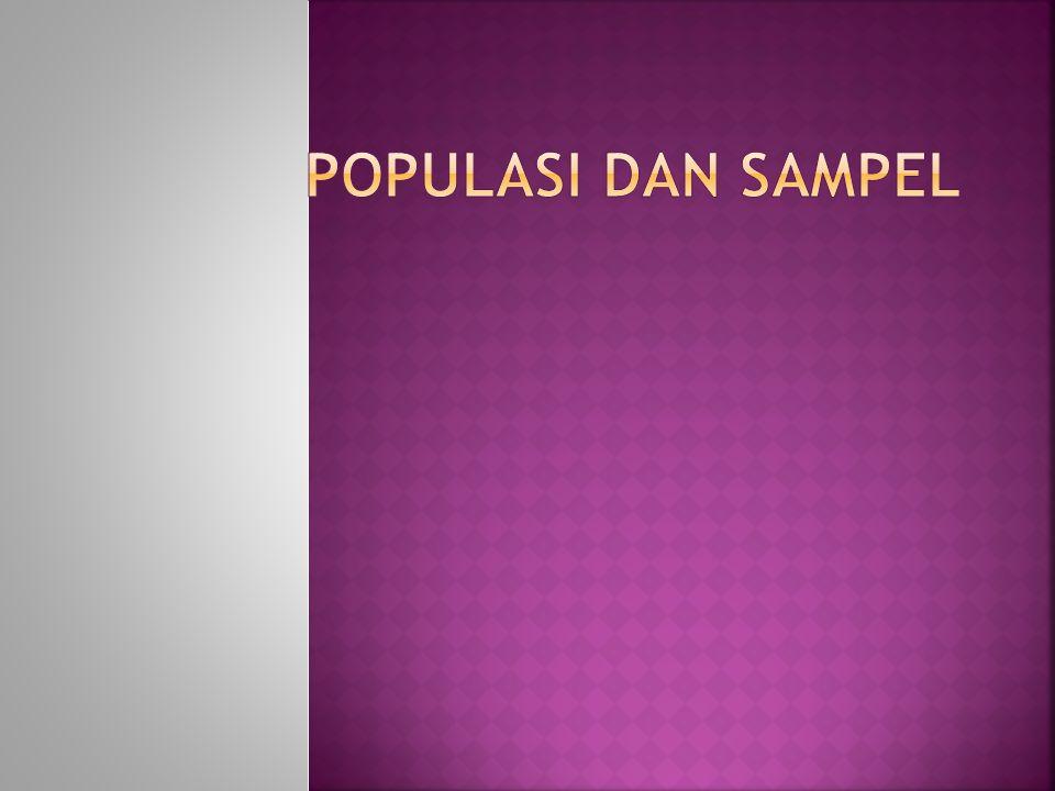  POPULASI  SAMPEL  TEKNIK SAMPLING  MENENTUKAN UKURAN SAMPEL  CONTOH MENENTUKAN UKURAN SAMPEL  CARA MENGAMBIL SAMPEL ANGGOTA SAMPEL