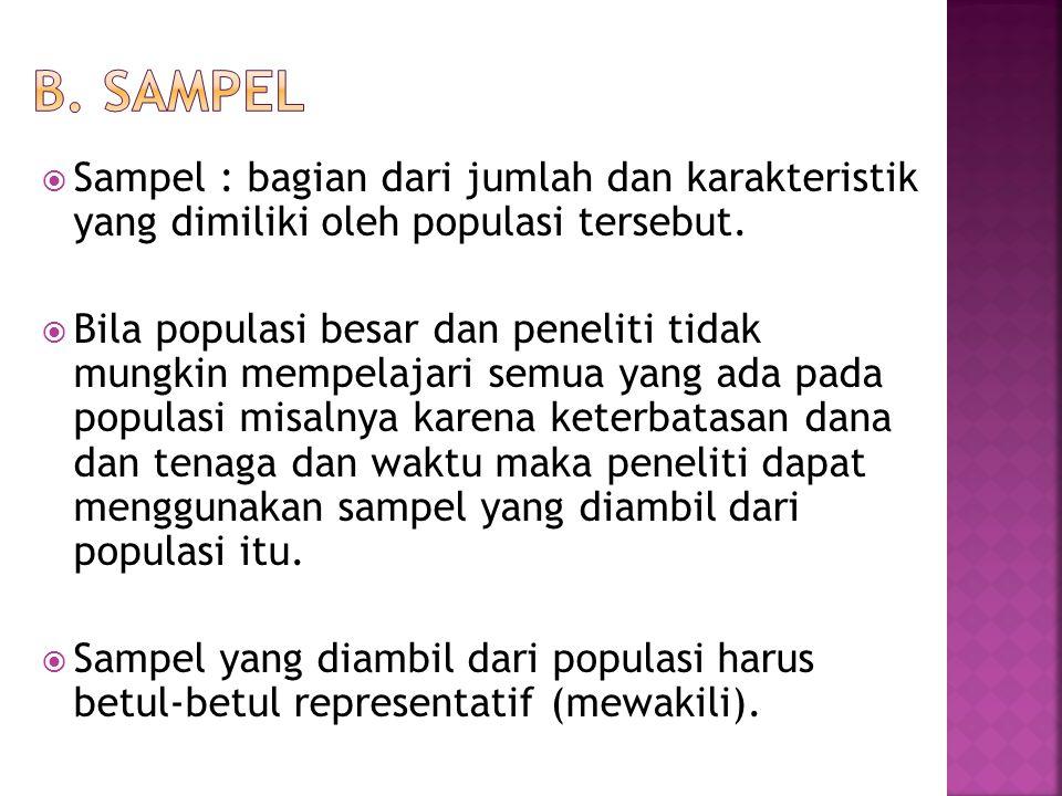  Sampel : bagian dari jumlah dan karakteristik yang dimiliki oleh populasi tersebut.