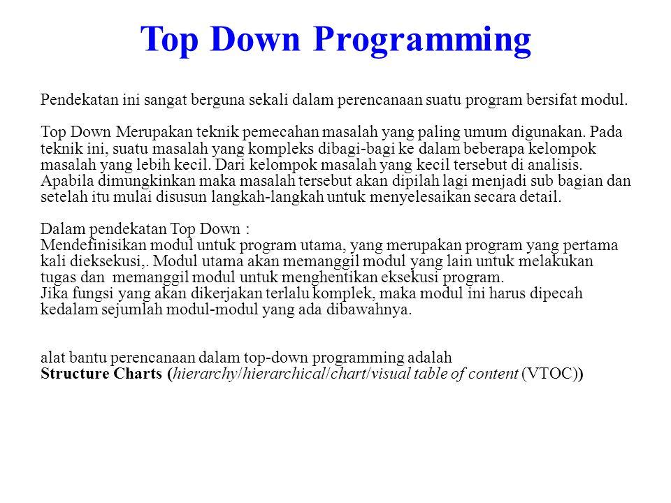 Top Down Programming Pendekatan ini sangat berguna sekali dalam perencanaan suatu program bersifat modul. Top Down Merupakan teknik pemecahan masalah