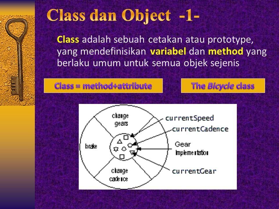 Class adalah sebuah cetakan atau prototype, yang mendefinisikan variabel dan method yang berlaku umum untuk semua objek sejenis