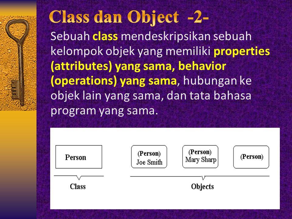 Sebuah class mendeskripsikan sebuah kelompok objek yang memiliki properties (attributes) yang sama, behavior (operations) yang sama, hubungan ke objek
