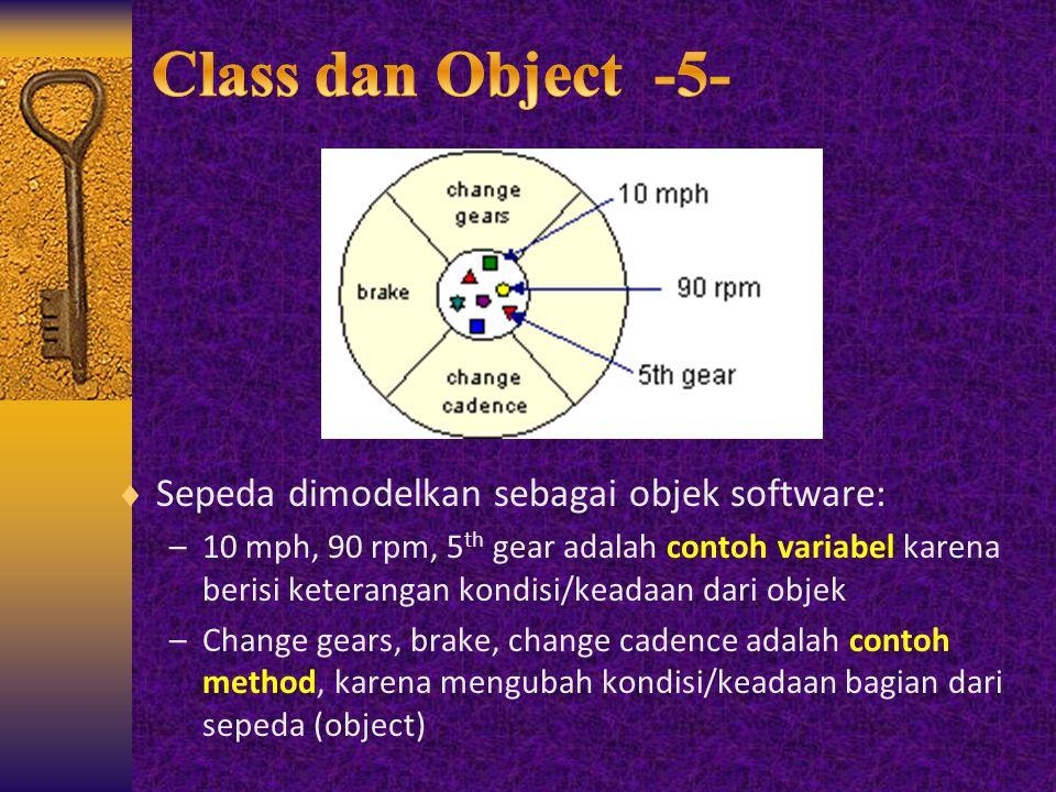  Sepeda dimodelkan sebagai objek software: –10 mph, 90 rpm, 5 th gear adalah contoh variabel karena berisi keterangan kondisi/keadaan dari objek –Cha