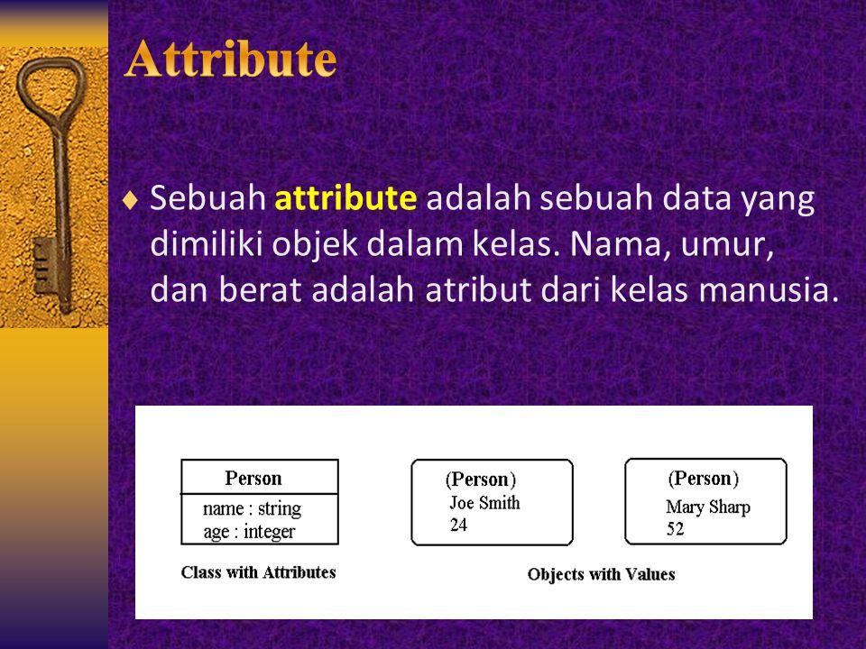  Sebuah attribute adalah sebuah data yang dimiliki objek dalam kelas. Nama, umur, dan berat adalah atribut dari kelas manusia.
