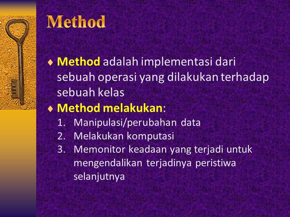  Method adalah implementasi dari sebuah operasi yang dilakukan terhadap sebuah kelas  Method melakukan: 1.Manipulasi/perubahan data 2.Melakukan komp