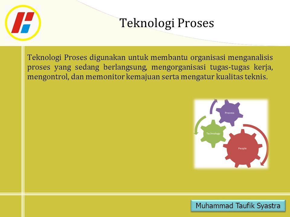 Teknologi Proses Teknologi Proses digunakan untuk membantu organisasi menganalisis proses yang sedang berlangsung, mengorganisasi tugas-tugas kerja, mengontrol, dan memonitor kemajuan serta mengatur kualitas teknis.