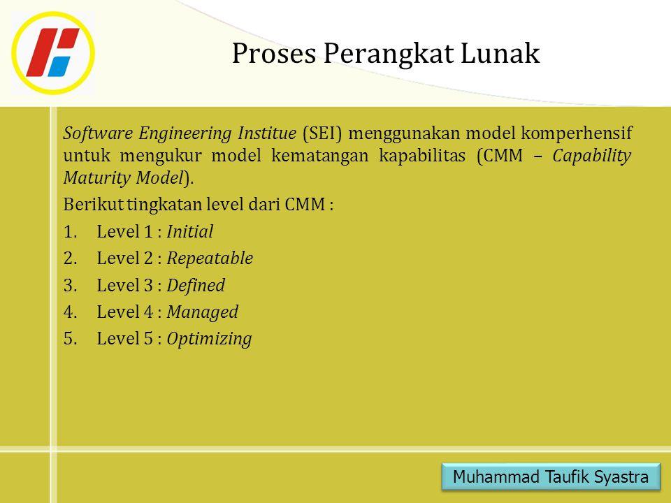 Proses Perangkat Lunak Software Engineering Institue (SEI) menggunakan model komperhensif untuk mengukur model kematangan kapabilitas (CMM – Capability Maturity Model).
