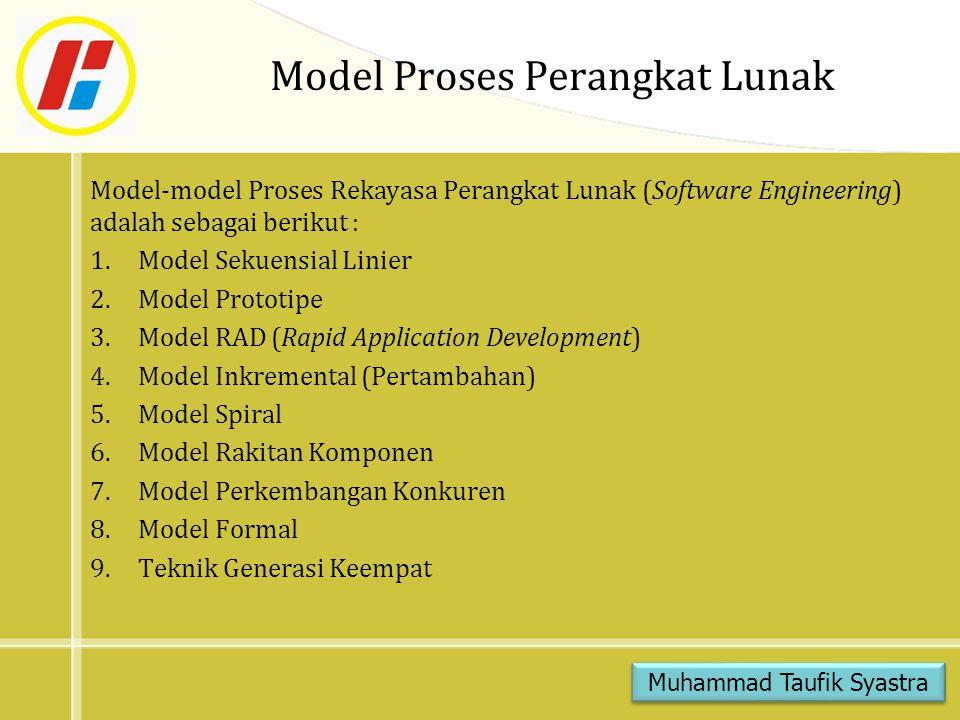 Model Formal Model Formal memungkinkan perekayasa perangkat lunak untuk mengkhususkan, mengembangkan, dan menverifikasi sistem berbasis komputer dengan menggunakan notasi matematis yang tepat.