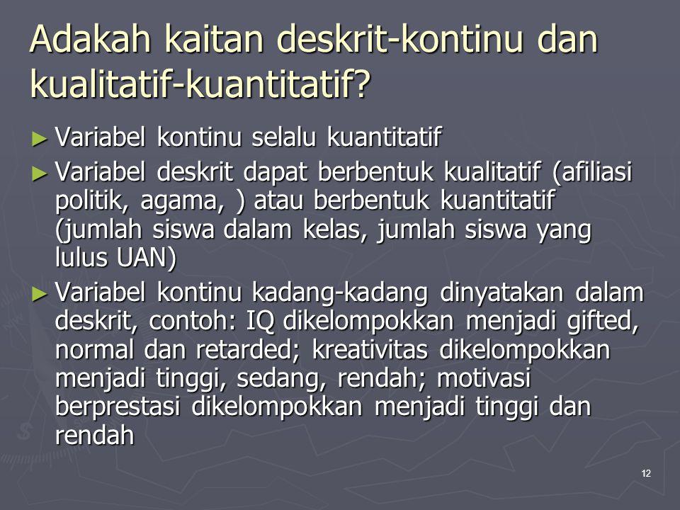 12 Adakah kaitan deskrit-kontinu dan kualitatif-kuantitatif? ► Variabel kontinu selalu kuantitatif ► Variabel deskrit dapat berbentuk kualitatif (afil