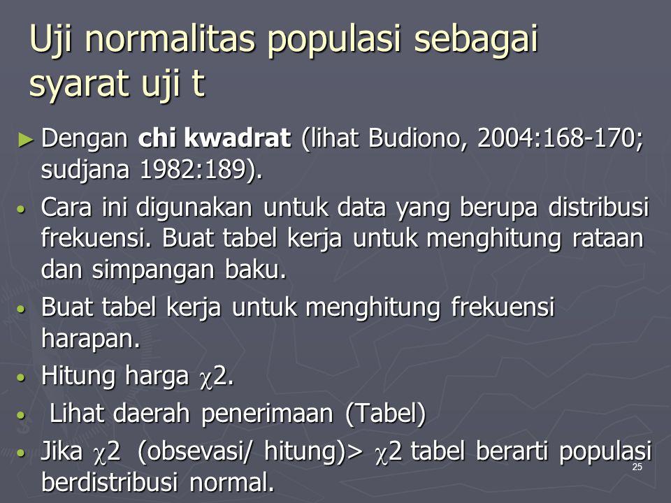 25 Uji normalitas populasi sebagai syarat uji t ► Dengan chi kwadrat (lihat Budiono, 2004:168-170; sudjana 1982:189). • Cara ini digunakan untuk data