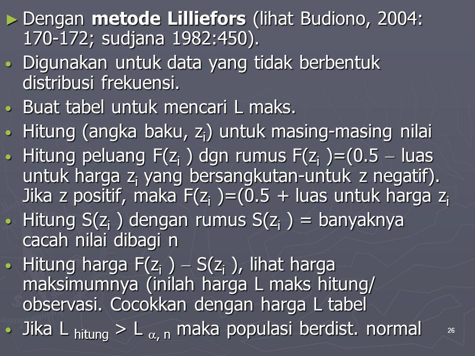 26 ► Dengan metode Lilliefors (lihat Budiono, 2004: 170-172; sudjana 1982:450). • Digunakan untuk data yang tidak berbentuk distribusi frekuensi. • Bu