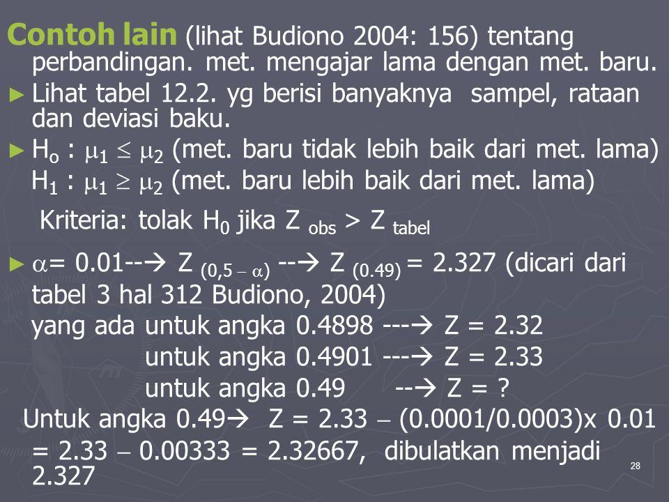 28 Contoh lain (lihat Budiono 2004: 156) tentang perbandingan. met. mengajar lama dengan met. baru. ► ► Lihat tabel 12.2. yg berisi banyaknya sampel,