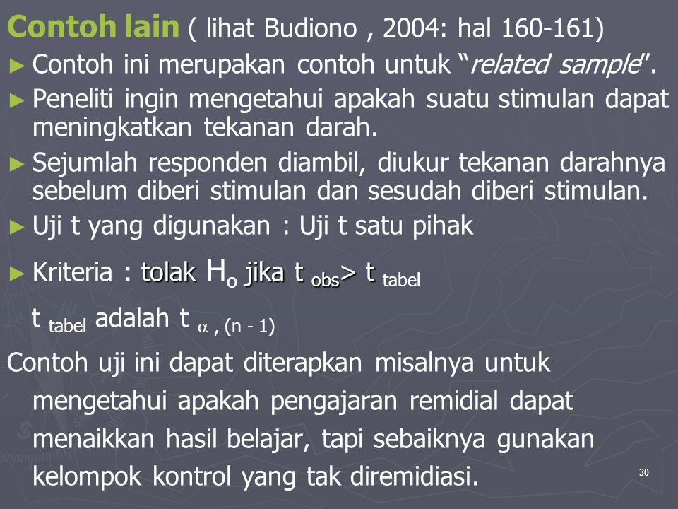 """30 Contoh lain ( lihat Budiono, 2004: hal 160-161) ► ► Contoh ini merupakan contoh untuk """"related sample"""". ► ► Peneliti ingin mengetahui apakah suatu"""