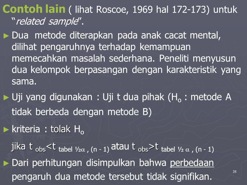 """31 Contoh lain ( lihat Roscoe, 1969 hal 172-173) untuk """"related sample"""". ► ► Dua metode diterapkan pada anak cacat mental, dilihat pengaruhnya terhada"""
