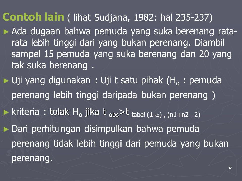 32 Contoh lain ( lihat Sudjana, 1982: hal 235-237) ► ► Ada dugaan bahwa pemuda yang suka berenang rata- rata lebih tinggi dari yang bukan perenang. Di