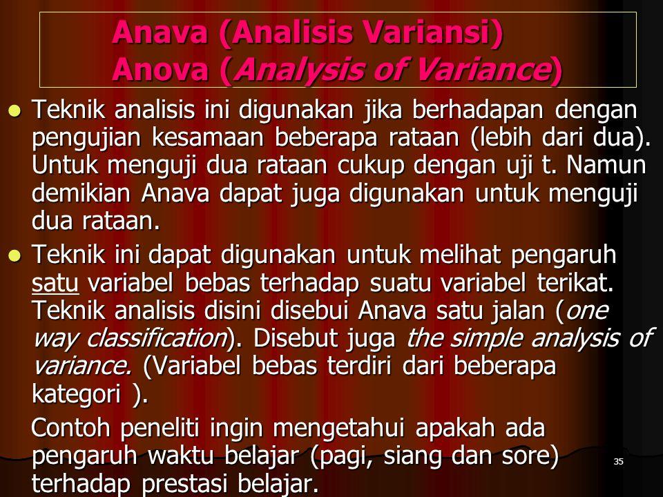 35 Anava (Analisis Variansi) Anova (Analysis of Variance)  Teknik analisis ini digunakan jika berhadapan dengan pengujian kesamaan beberapa rataan (l