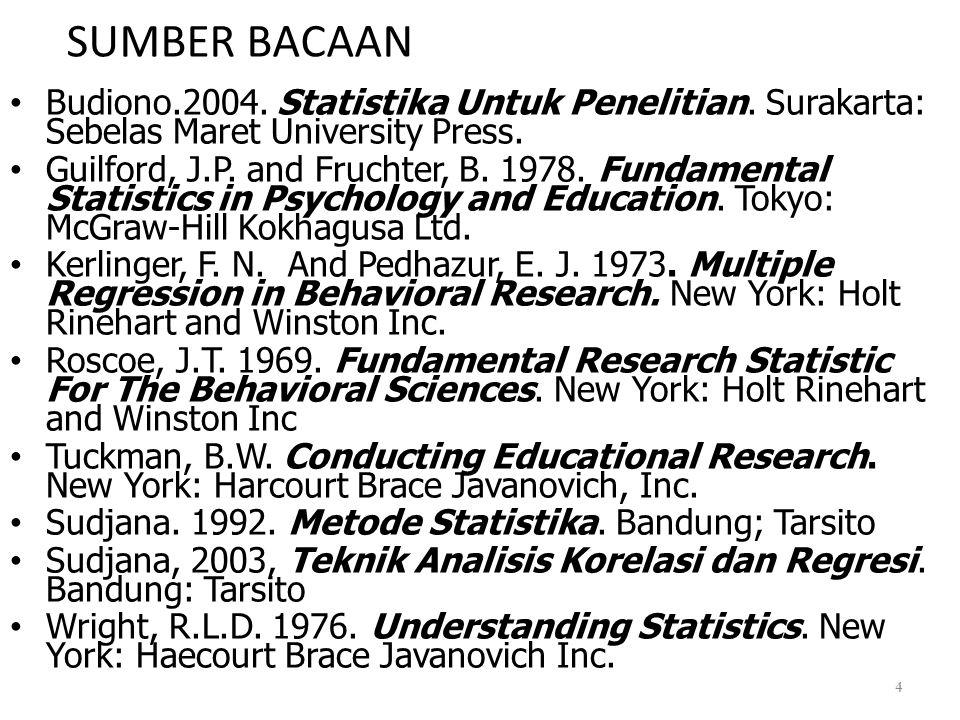 SUMBER BACAAN • Budiono.2004. Statistika Untuk Penelitian. Surakarta: Sebelas Maret University Press. • Guilford, J.P. and Fruchter, B. 1978. Fundamen