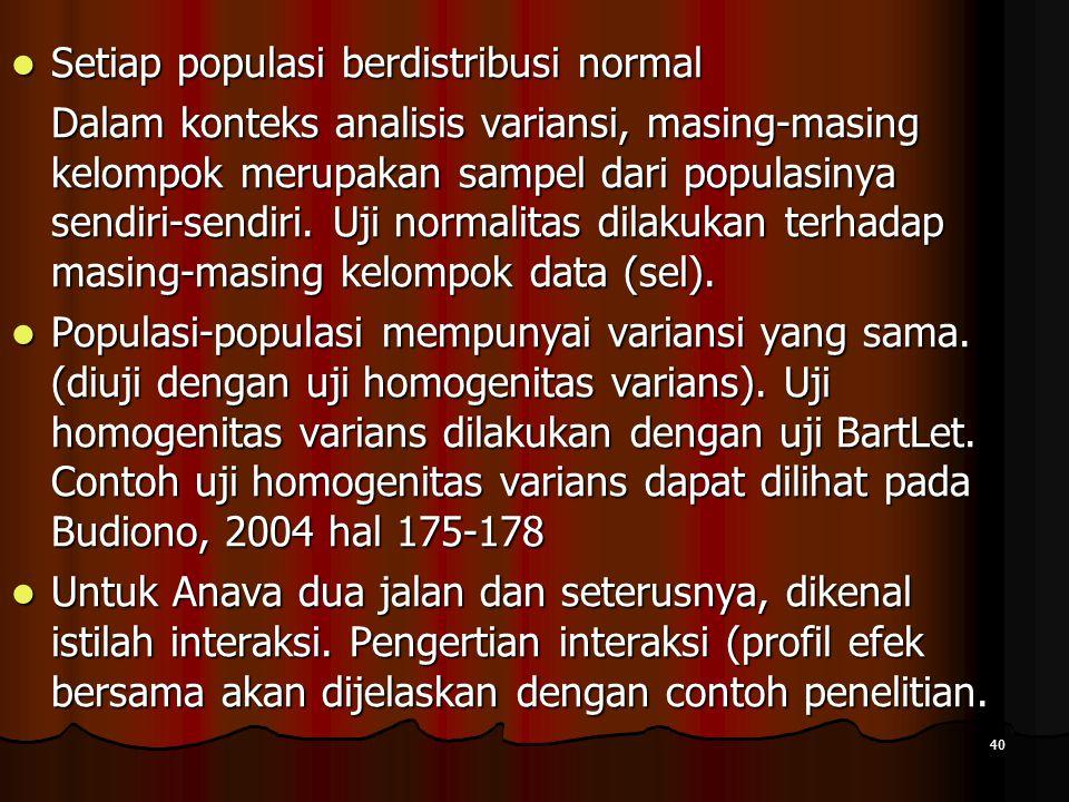 40  Setiap populasi berdistribusi normal Dalam konteks analisis variansi, masing-masing kelompok merupakan sampel dari populasinya sendiri-sendiri. U