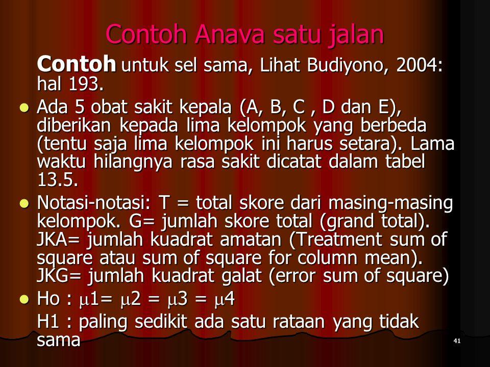 41 Contoh Anava satu jalan Contoh untuk sel sama, Lihat Budiyono, 2004: hal 193.  Ada 5 obat sakit kepala (A, B, C, D dan E), diberikan kepada lima k