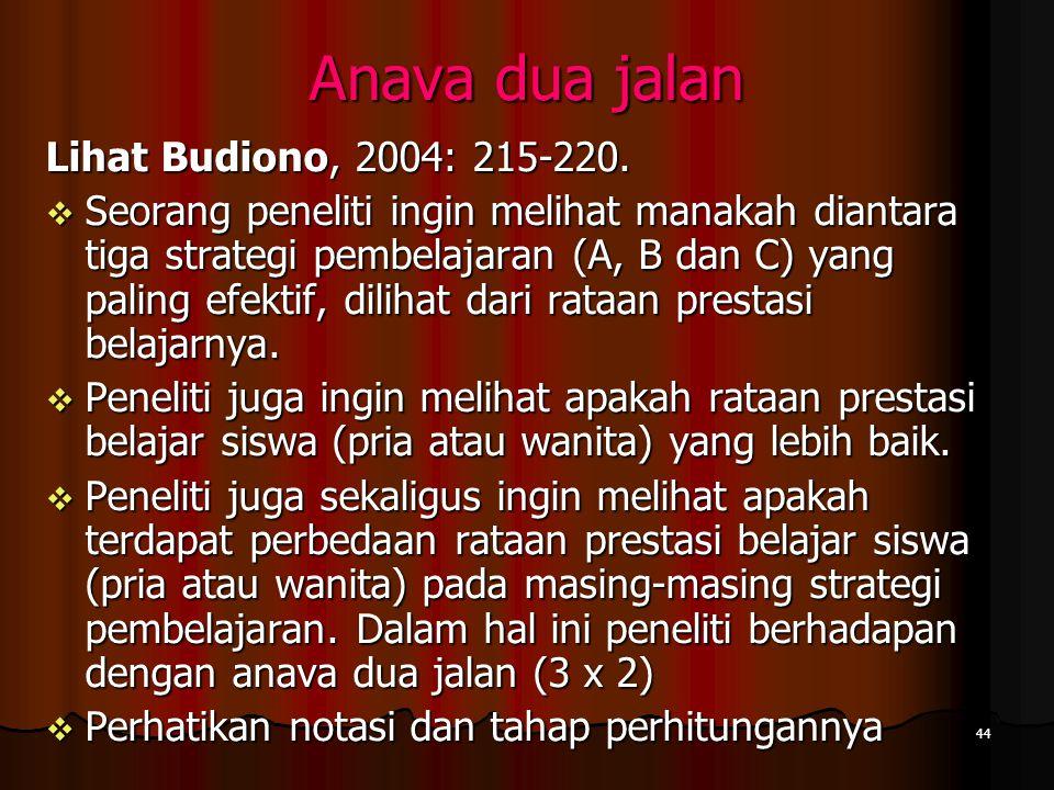 44 Anava dua jalan Lihat Budiono, 2004: 215-220.  Seorang peneliti ingin melihat manakah diantara tiga strategi pembelajaran (A, B dan C) yang paling