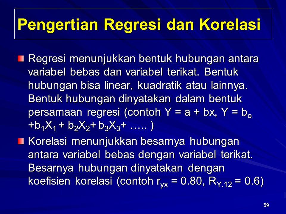 59 Pengertian Regresi dan Korelasi Regresi menunjukkan bentuk hubungan antara variabel bebas dan variabel terikat. Bentuk hubungan bisa linear, kuadra