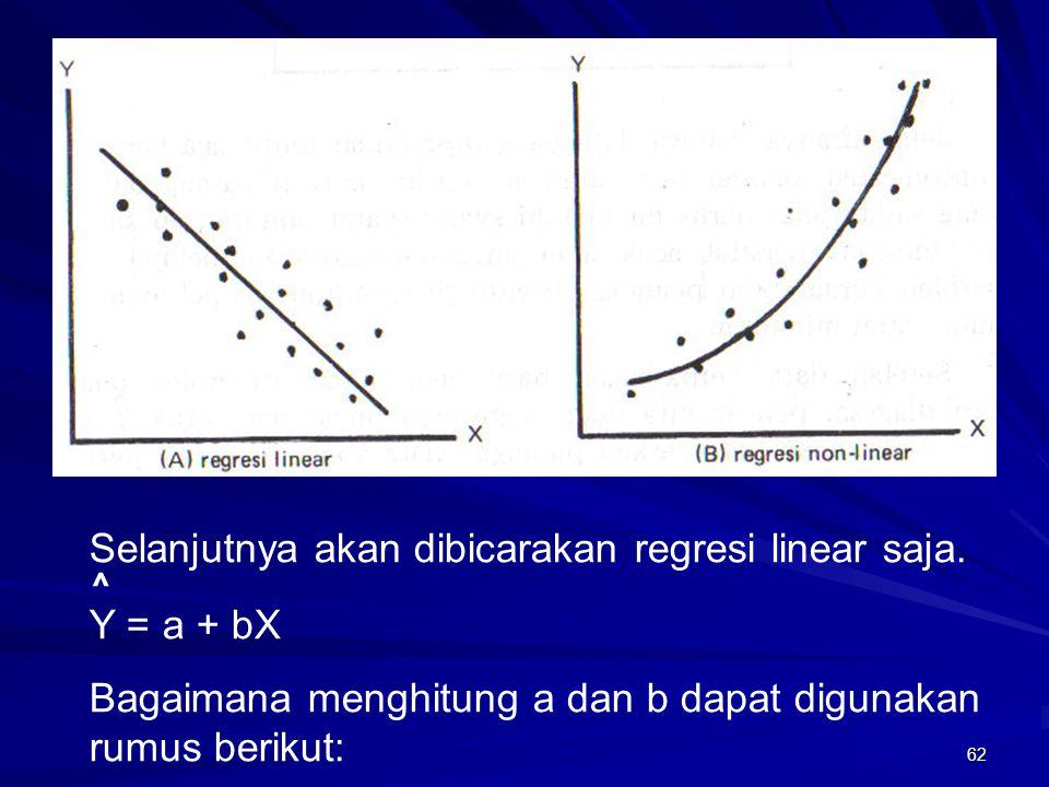 62 Selanjutnya akan dibicarakan regresi linear saja. Y = a + bX Bagaimana menghitung a dan b dapat digunakan rumus berikut: ^
