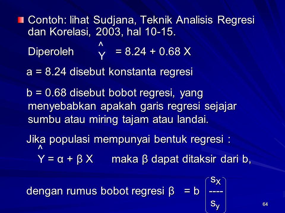 64 Contoh: lihat Sudjana, Teknik Analisis Regresi dan Korelasi, 2003, hal 10-15. Diperoleh = 8.24 + 0.68 X a = 8.24 disebut konstanta regresi a = 8.24