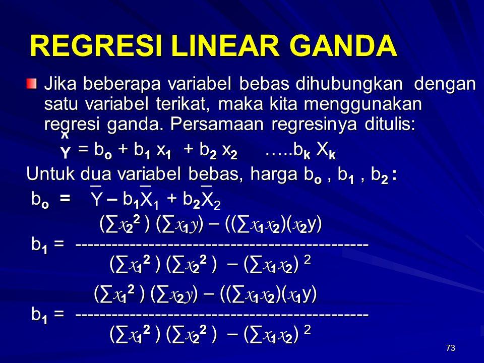 73 REGRESI LINEAR GANDA Jika beberapa variabel bebas dihubungkan dengan satu variabel terikat, maka kita menggunakan regresi ganda. Persamaan regresin