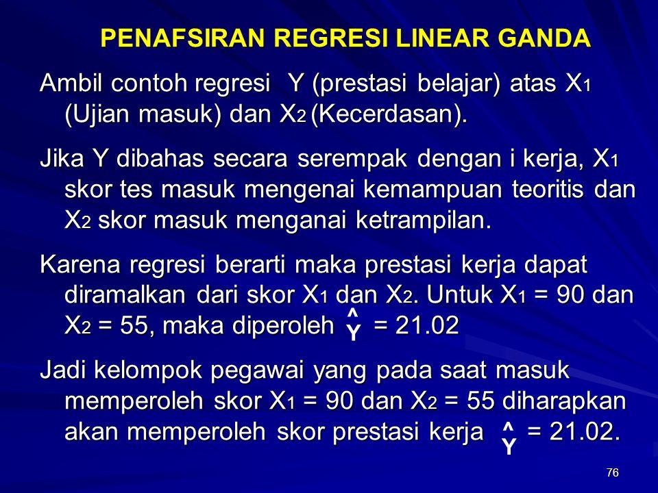 76 PENAFSIRAN REGRESI LINEAR GANDA Ambil contoh regresi Y (prestasi belajar) atas X 1 (Ujian masuk) dan X 2 (Kecerdasan). Jika Y dibahas secara seremp