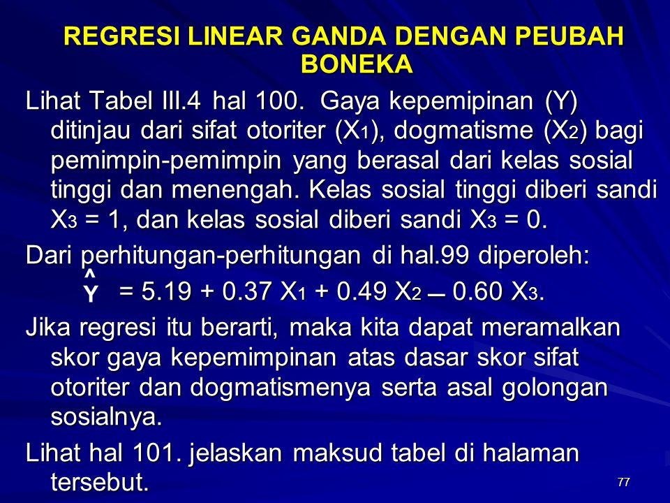 77 REGRESI LINEAR GANDA DENGAN PEUBAH BONEKA Lihat Tabel III.4 hal 100. Gaya kepemipinan (Y) ditinjau dari sifat otoriter (X 1 ), dogmatisme (X 2 ) ba