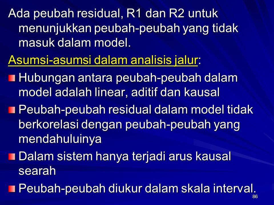 86 Ada peubah residual, R1 dan R2 untuk menunjukkan peubah-peubah yang tidak masuk dalam model. Asumsi-asumsi dalam analisis jalur: Hubungan antara pe
