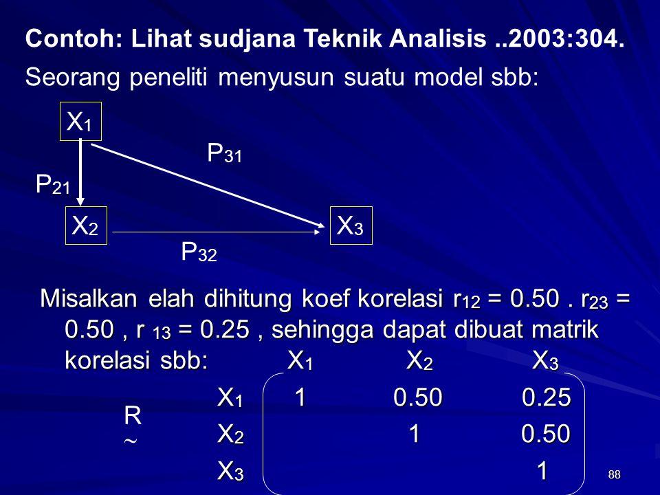 88 Misalkan elah dihitung koef korelasi r 12 = 0.50. r 23 = 0.50, r 13 = 0.25, sehingga dapat dibuat matrik korelasi sbb: X 1 X 2 X 3 X 1 1 0.50 0.25