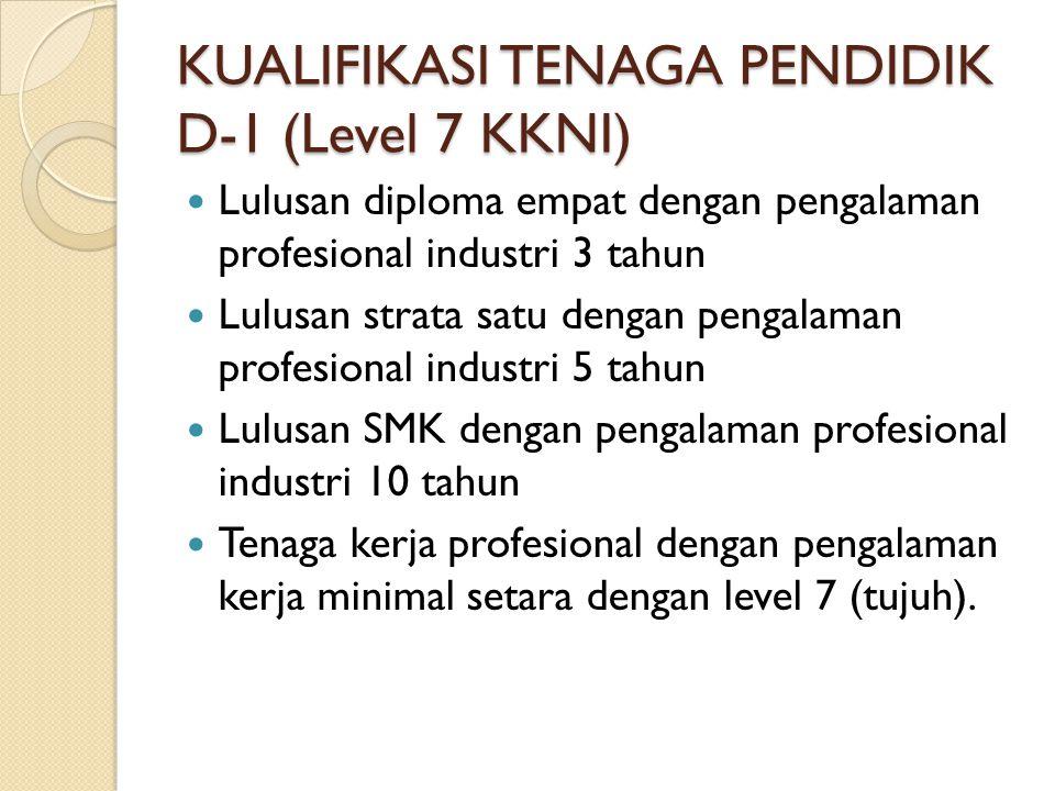 KUALIFIKASI TENAGA PENDIDIK D-1 (Level 7 KKNI)  Lulusan diploma empat dengan pengalaman profesional industri 3 tahun  Lulusan strata satu dengan pen