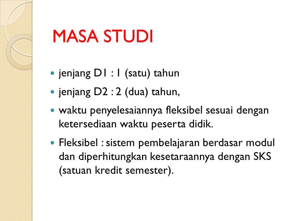 MASA STUDI MASA STUDI  jenjang D1 : 1 (satu) tahun  jenjang D2 : 2 (dua) tahun,  waktu penyelesaiannya fleksibel sesuai dengan ketersediaan waktu p
