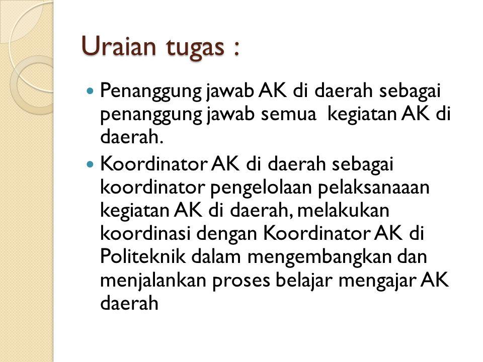 Uraian tugas :  Penanggung jawab AK di daerah sebagai penanggung jawab semua kegiatan AK di daerah.  Koordinator AK di daerah sebagai koordinator pe