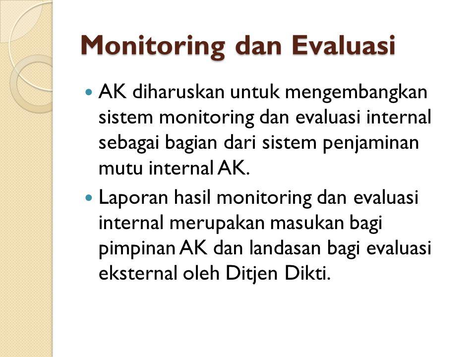 Monitoring dan Evaluasi  AK diharuskan untuk mengembangkan sistem monitoring dan evaluasi internal sebagai bagian dari sistem penjaminan mutu interna
