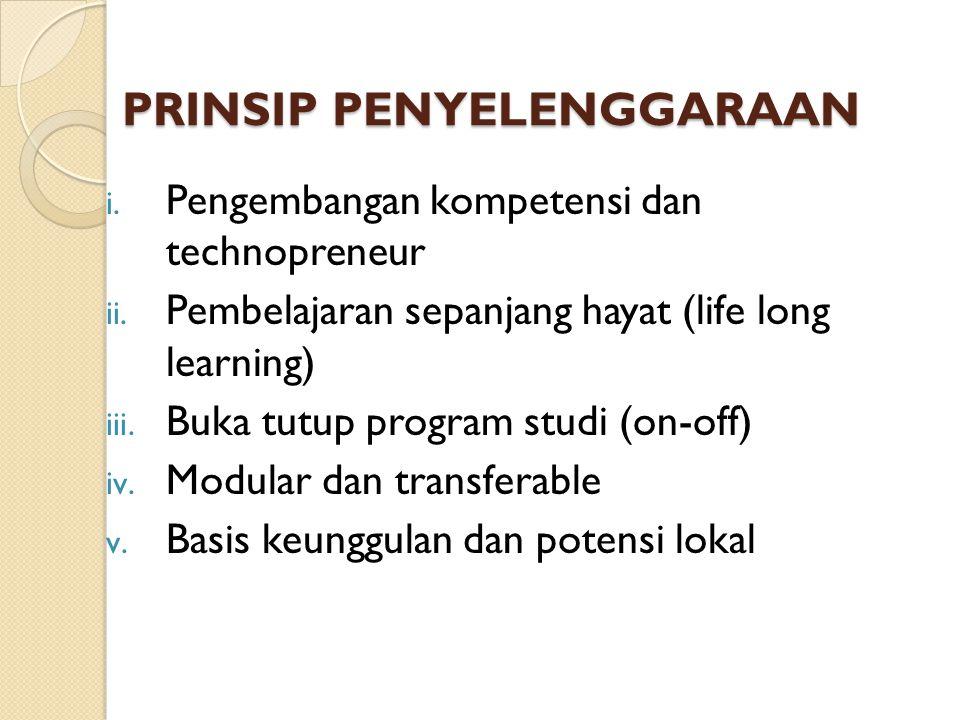 PRINSIP PENYELENGGARAAN i. Pengembangan kompetensi dan technopreneur ii. Pembelajaran sepanjang hayat (life long learning) iii. Buka tutup program stu