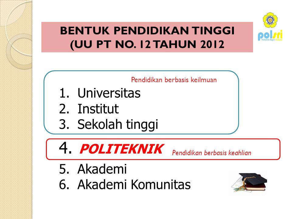 Pendidikan berbasis keahlian Pendidikan berbasis keilmuan 1. Universitas 2. Institut 3. Sekolah tinggi 4. POLITEKNIK 5. Akademi 6. Akademi Komunitas B
