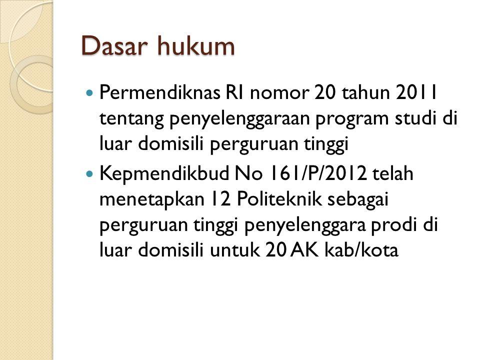 Dasar hukum (2)  Kepmendikbud No 210/P/2012 tentang Perguruan tinggi penyelenggara prodi di luar domisili (15)  Kepmendikbud No 211/P/2012 tentang Perguruan tinggi penyelenggara prodi di luar domisili (7)  Kepmendikbud No 212/P/2012 tentang Perguruan tinggi penyelenggara prodi (4)