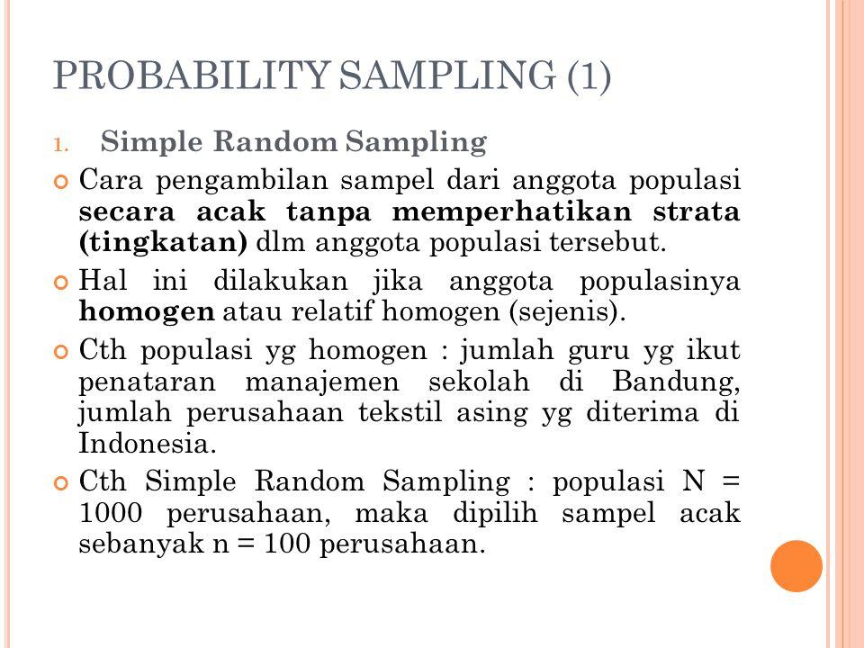 PROBABILITY SAMPLING (1) 1. Simple Random Sampling Cara pengambilan sampel dari anggota populasi secara acak tanpa memperhatikan strata (tingkatan) dl