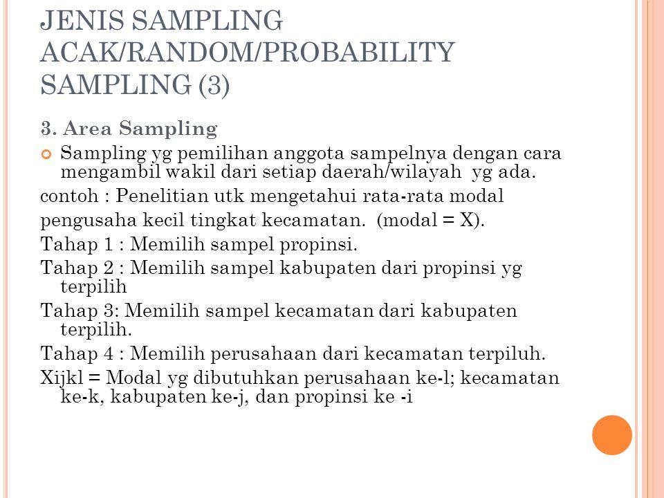 JENIS SAMPLING ACAK/RANDOM/PROBABILITY SAMPLING (3) 3. Area Sampling Sampling yg pemilihan anggota sampelnya dengan cara mengambil wakil dari setiap d
