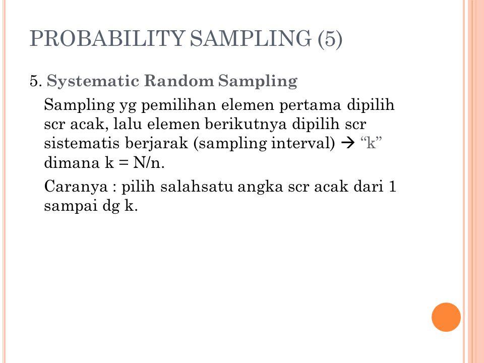 PROBABILITY SAMPLING (5) 5. Systematic Random Sampling Sampling yg pemilihan elemen pertama dipilih scr acak, lalu elemen berikutnya dipilih scr siste