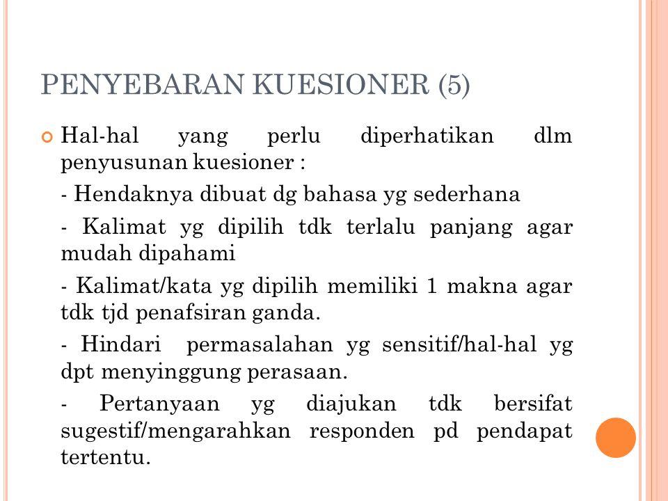 PENYEBARAN KUESIONER (5) Hal-hal yang perlu diperhatikan dlm penyusunan kuesioner : - Hendaknya dibuat dg bahasa yg sederhana - Kalimat yg dipilih tdk